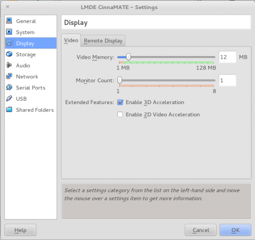 Enable 3D Acceleration VirtualBox