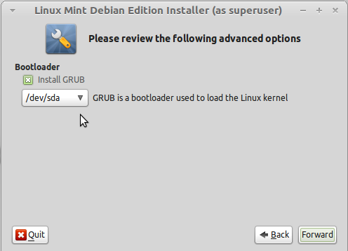 LMDE Install GRUB