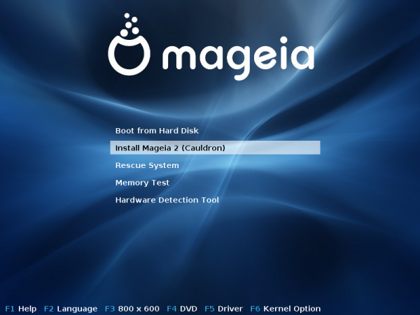 Mageia 2 Beta 3 Boot Menu