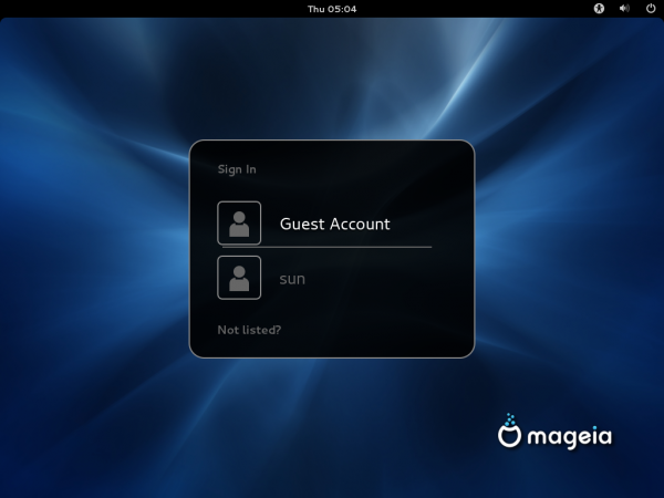 Mageia 2 Beta GNOME Login
