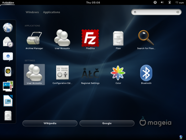 Mageia 2 Beta GNOME Search