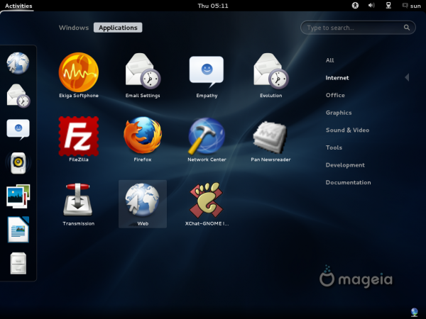 Mageia 2 Beta GNOME Internet Apps