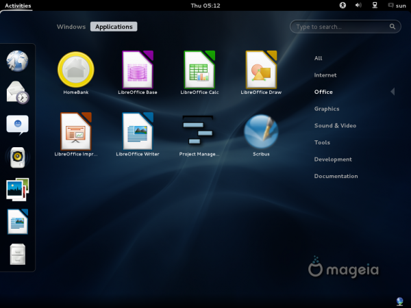 Mageia 2 Beta 3 GNOME Office Apps