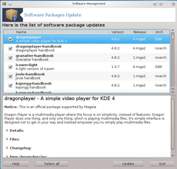 Mageia 2 Beta 3 KDE Update Manager