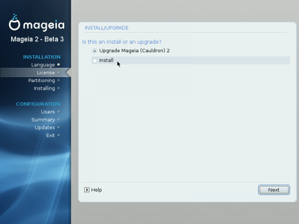 Mageia 2 Beta 3 Upgrade Options