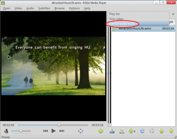 ROSA Media Player Extract Audio