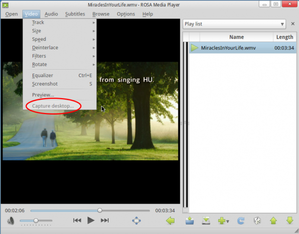 ROSA Media Player Capture Desktop