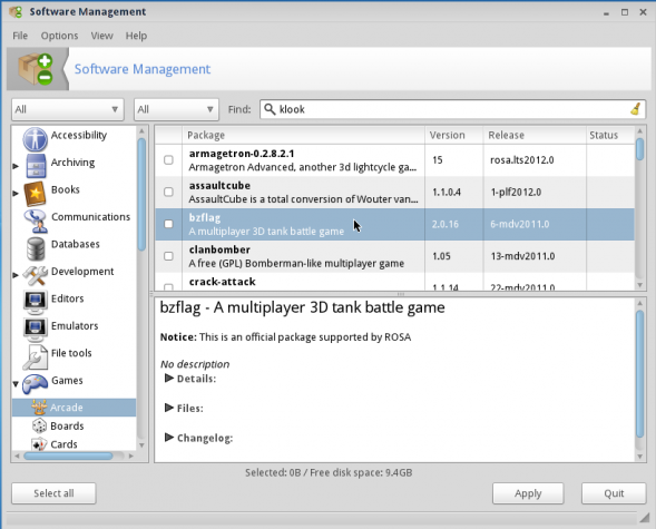 ROSA 2012 LXDE Desktop Software Manager