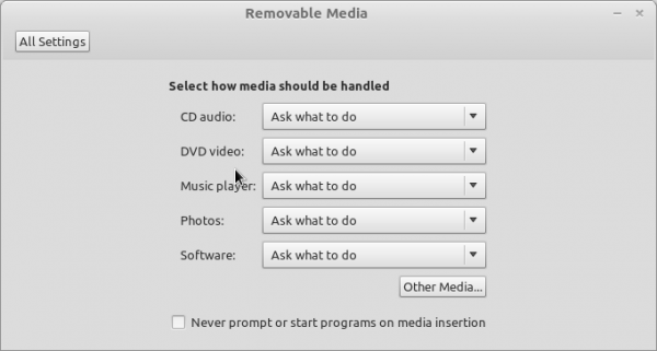 Linux Mint Debian Removable Media Setting