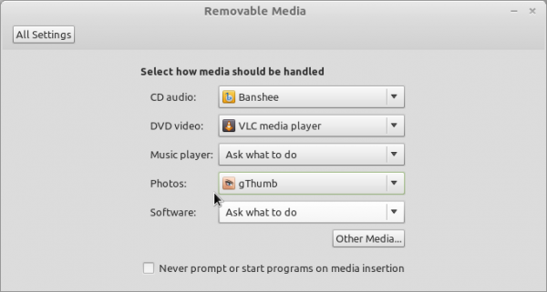 Linux Mint Debian Removable Media Settings