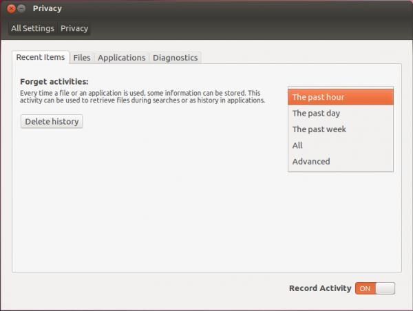 Ubuntu 12.04 System Settings History