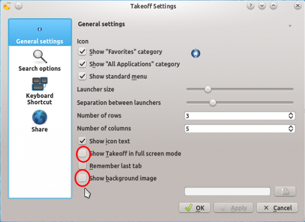Kubuntu 12.04 Takeoff Launcher Settings