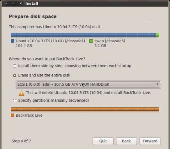 BackTrack 5 R2 GNOME Installer