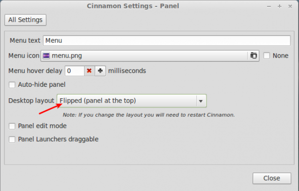 Linux Mint 3 Cinnamon Panel Settings
