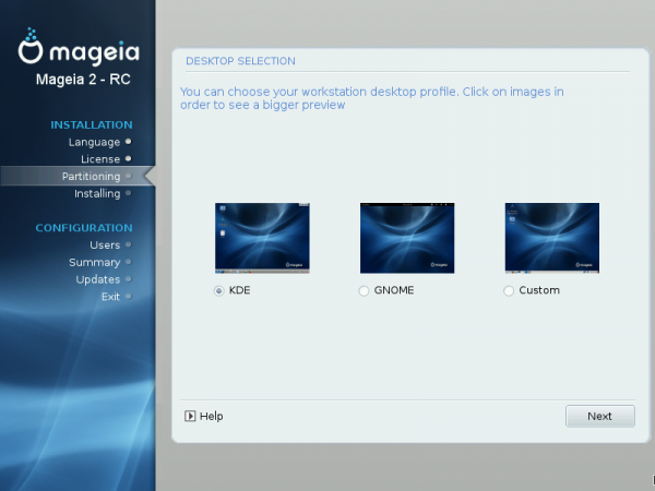 Mageia 2 DVD Desktop Selection