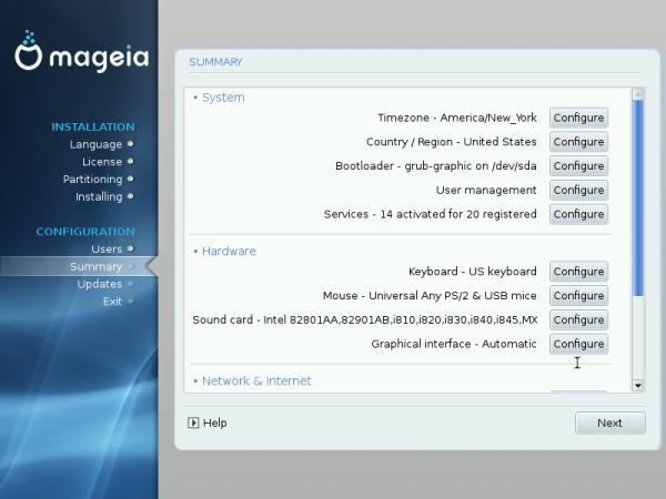 Mageia 2 Installation Summary