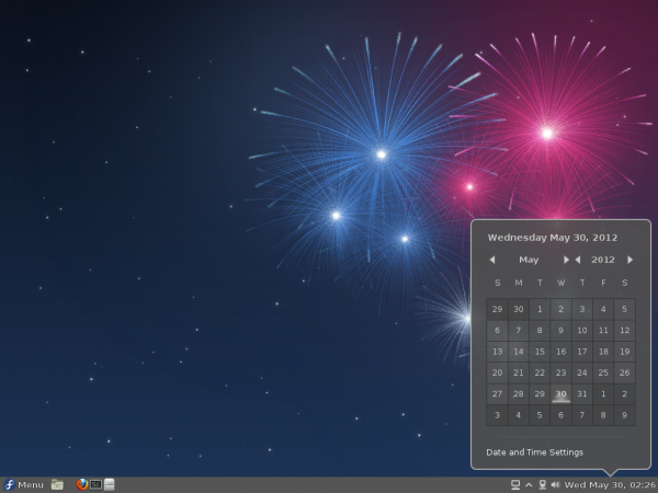 Fedora 17 Cinnamon Date Applet