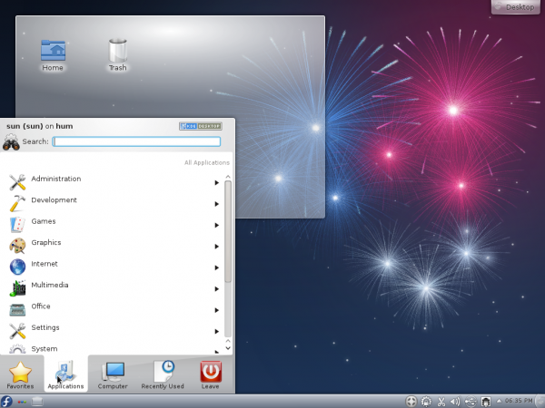 Fedora 17 KDE Kickoff Menu