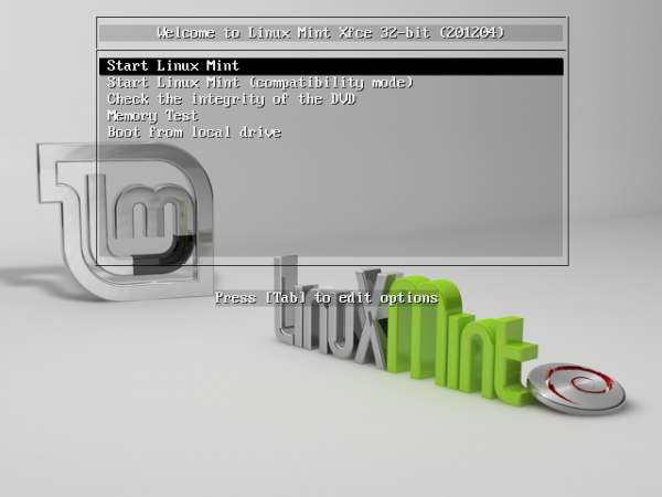 LMDE 201204 Xfce Boot Menu