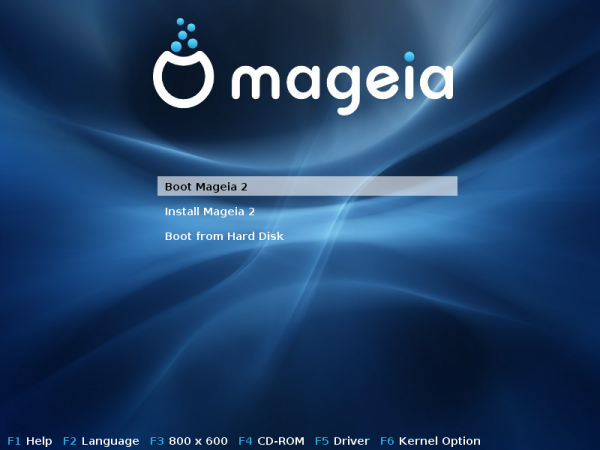 Mageia 2 LiveCD Boot Menu