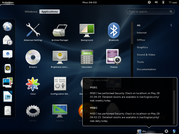 Mageia 2 GNOME Menu
