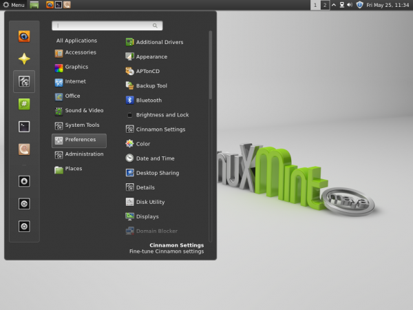 Linux Mint 13 Cinnamon Top Panel