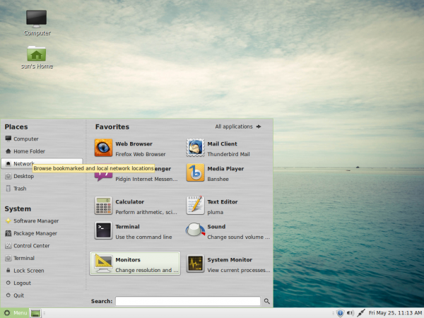 Linux Mint 13 MATE Menu