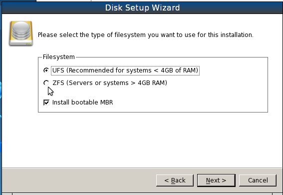 PCBSD 9.1 Install Filesystem Options