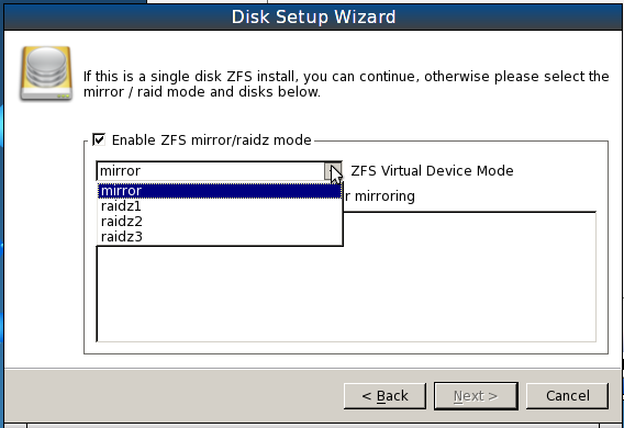 PCBSD 9.1 Install ZFS RAID/RAIDz Options