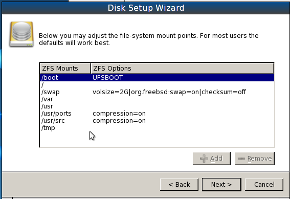 PCBSD 9.1 Install ZFS Default Partitions
