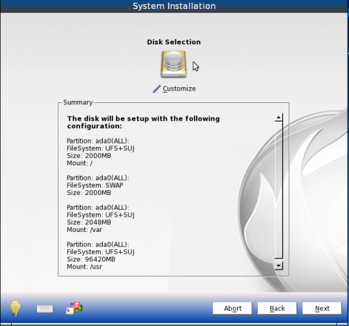 PCBSD 9.1 Install Default Partitions