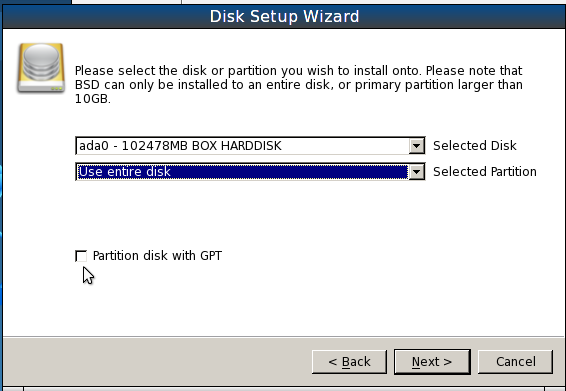 PCBSD 9.1 Install Advanced Partition Options
