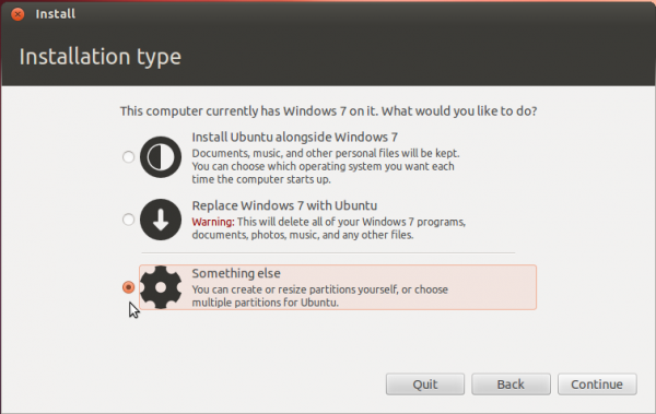 Ubuntu 12.04 Partition Options