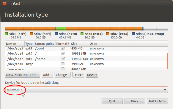 Ubuntu 12.04 Install GRUB sda5 Boot Partition