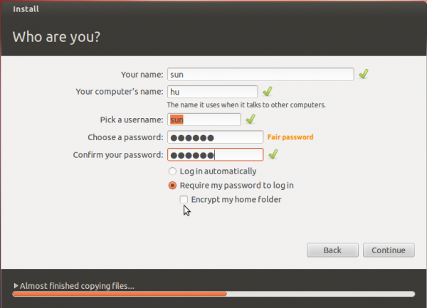 Ubuntu 12.04 Install User Account Setup