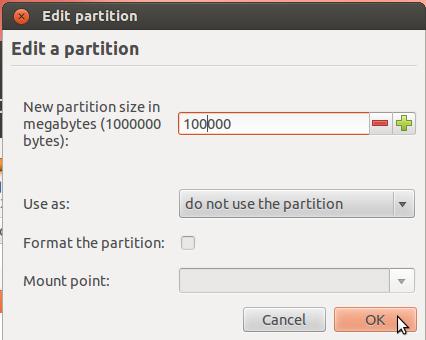 Ubuntu 12.04 New Partition Size