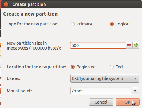 Ubuntu 12.04 Create Boot Partition