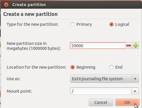 Ubuntu 12.04 Create Root Partition