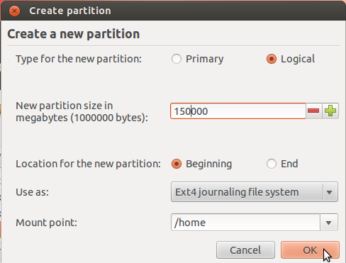 Ubuntu 12.04 Create Home Partition
