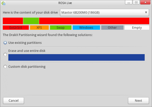 ROSA Marathon 2012 Partition Options