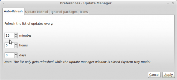 Linux Mint Debian 201204 Updates Manager