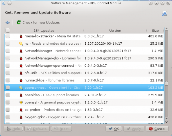 Fedora 17 Apper Software Manager Updates