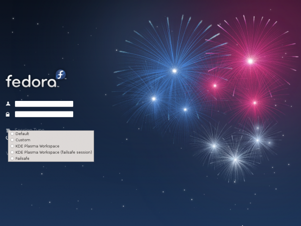 Fedora 17 KDE Login Screen