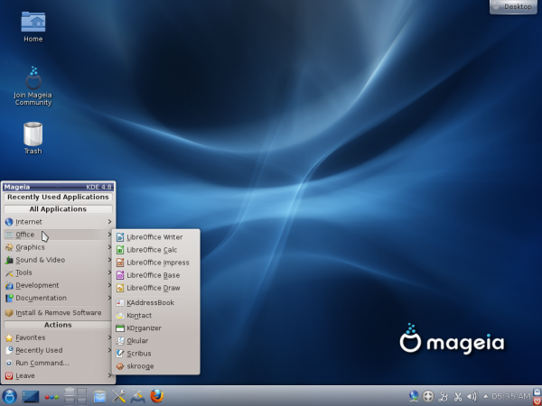 Mageia 2 KDE Desktop Office Apps