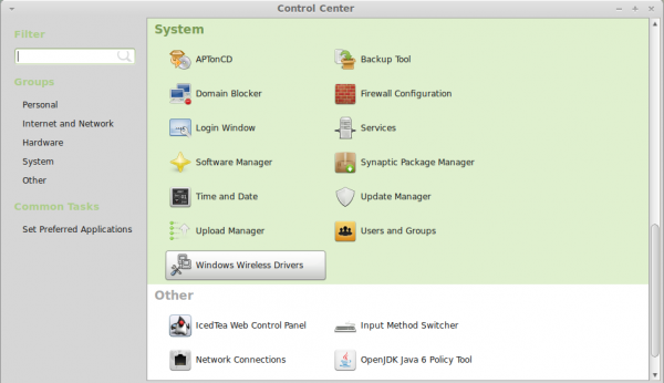Linux Mint 13 MATE Control Center