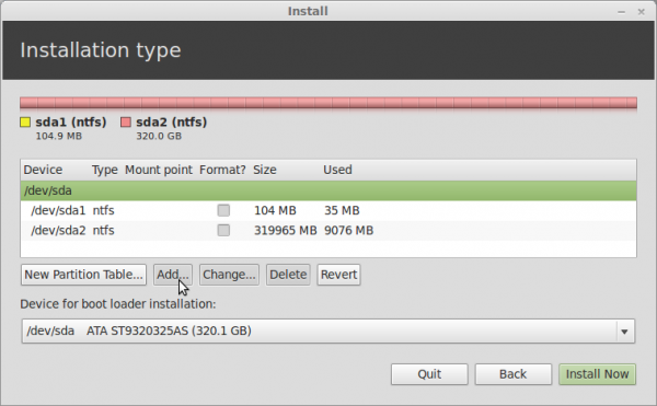 Linux Mint 13 Advanced Partition Tool