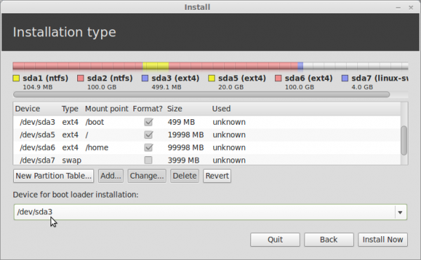 Linux Mint 13 Boot Loader Device Installation