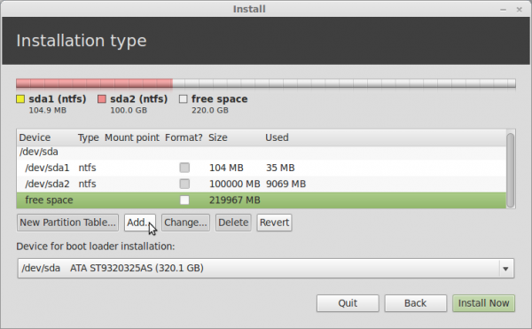 Linux Mint 13 Advanced Partition