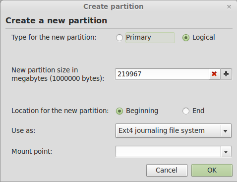 Linux Mint 13 Resize Partition Window