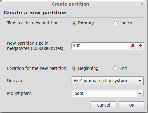 Linux Mint 13 Create Boot Partition